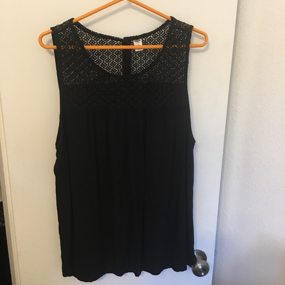 Old Navy Tops - Black Sleeveless Top with Crochet Detail